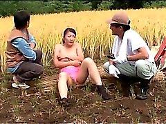 Asian slut caught masturbating fucked in gangbang outdoor