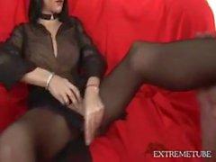 Hot Teen Pantyhose Shemale Gives Footjob - cum on feet