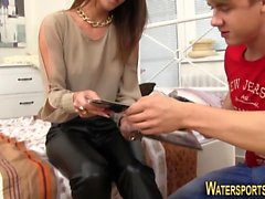 Babe gets piss showered