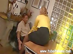 Blonde Italian MILF makes out with the boss while her husband watches