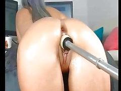 Hot babe sexy ass anal dildo machine
