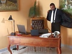 Boss makes his secretary give him head at the working place