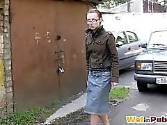 Gal in glasses leaks through jeans skirt