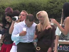 Classy babes suck cocks at a party