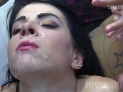 Premium Bukkake - Elya swallows 56 huge mouthful cumshots