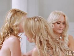 Heavenly blonde GODDESS has pussy serviced by two beautiful lesbian ANGELS