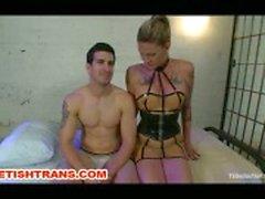 Shemale In Latex Dominates Her Guy Bound Slave