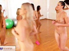 Fitness Rooms Lesbian threesome fitness fuck fest