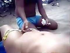 An Indian Mastrubates For His Sister in Goa Beach