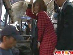 Yuma strokes penises in full bus
