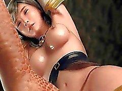 3d leggy girl loving a bondage toyplay