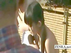 Three shy Japanese schoolgirls strip nude at bathhouse