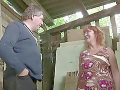 German Milf Mom and Dad Fuck Outdoor on farm