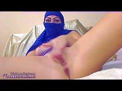 Amateur Arab Muslim In Blue Hijab Wife Masturbation To Orgasm On Webcam