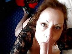 Big tits milf swallows a huge dick