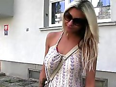 Busty blonde bent over fucked outdoor in public