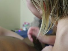 Cum hungry slut and little cock whore give sloppy deep throat double BJ