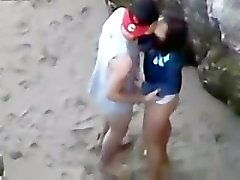 Fucking hot brunette in public on beach