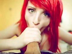 Stunning redhead eye contact blowjob and deep anal