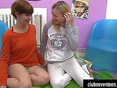 Kinky lesbian teens licking pussies