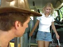 Lost teen looking for a ride gets picked up and fucked on the bus