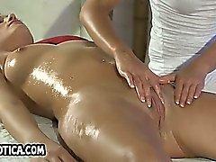 Foxy amateur brunette lesbian getting a massage