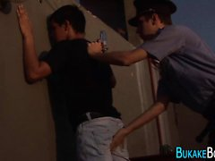Cuffed twink gets facial