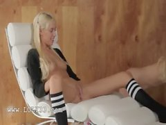 Unique blonde lesbians in daddys office