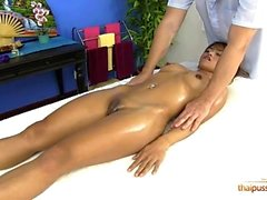 Sandy fucks the masseur for a free massage