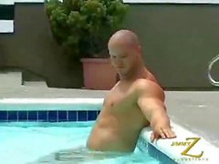 Beefy Kyle Stevens worship at the pool