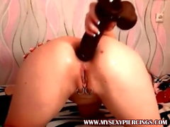 My Sexy Piercings Jessica with pierced pussy and huge dildo