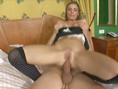Lusty brunette maid walks into guys room to suck his tool