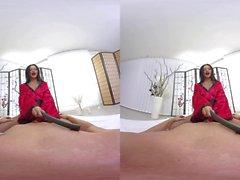 Cock hungry babe Amanda Black rides big one VR porn