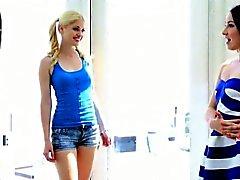 Naughty teen girls enjoying a foursome lesbian action