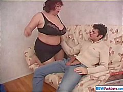 BBW mom seduces her son's best friend and blows and fucks him