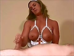 Big Tits Nurse gives nice Handjob to pacient