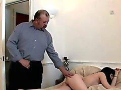 Old Man Perves On Naked Brunette