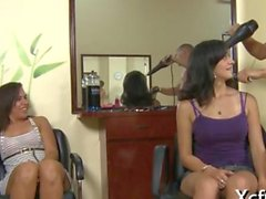 Cfnm chicks suck cock in a hair salon