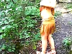 Girl dressed as an indian sucks cock in the woods