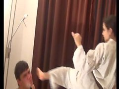 Karate mistress busts face