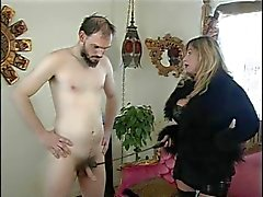 Big tits mistress Cristian & her slave in action
