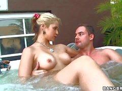 Sarah Vandella sucks a Cock in jacuzzi tub