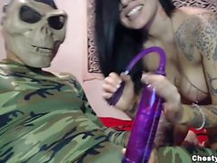 Busty sexy brunette sucks a dick to a dead soldier