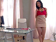 Big titted office babe Kira Queen stripping