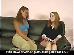 Three beautifull lesbian girls with natural tits talking outside