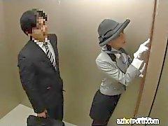 Asian Sex in a Public Elevator