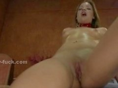 Teen babe with round forms rides fucking machines masturbating an