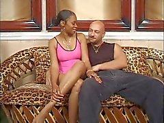 Black slut sucks and rides cock on jaguar coach