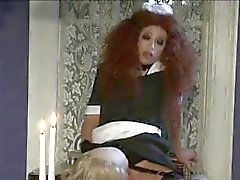 Crazy redhead maid blows a filthy old butlers cock