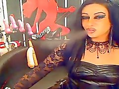 Goth Chick In Leather Smoking On Cam